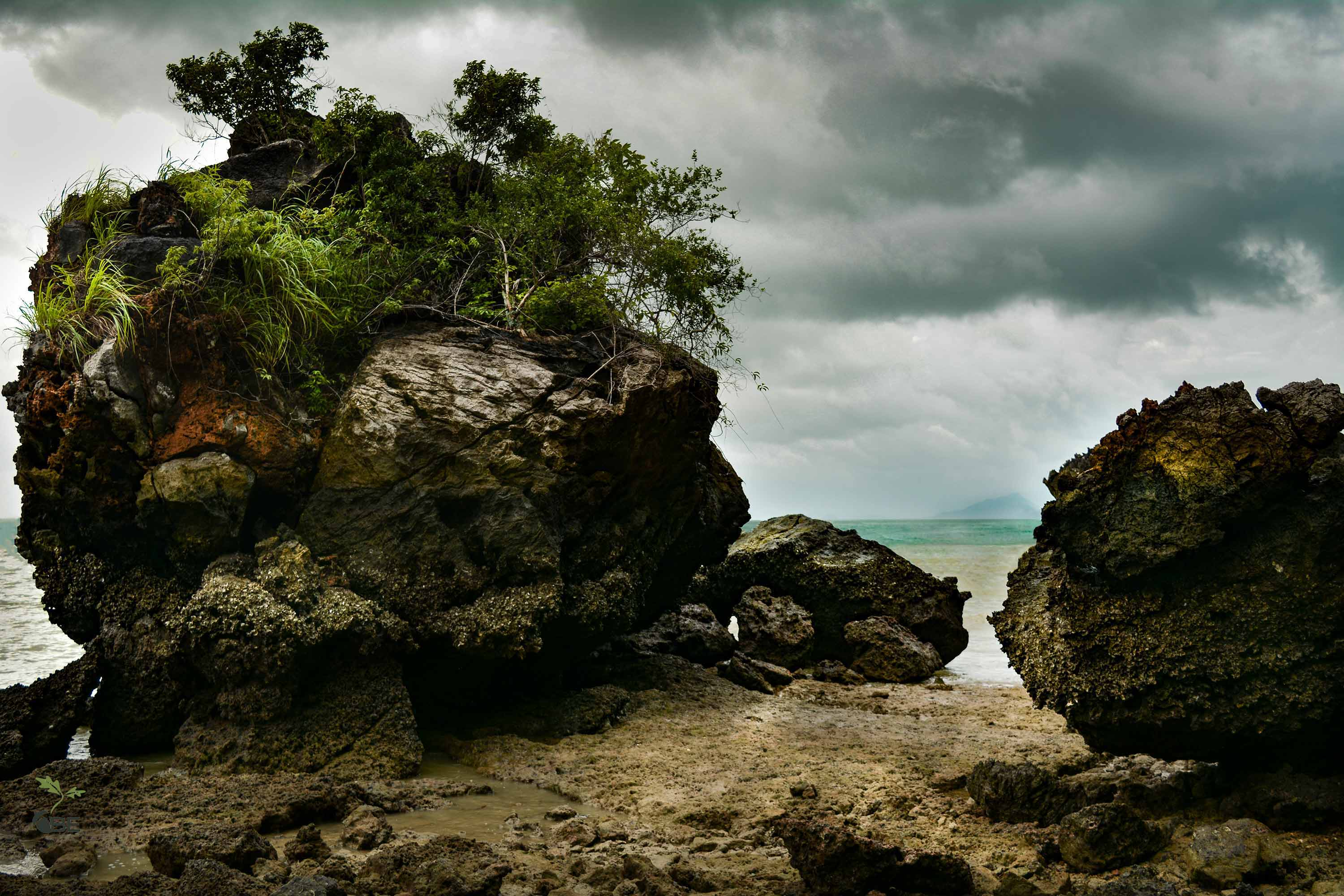 Limestone Rocks on the Andaman Sea on the Southern Thailand Coast
