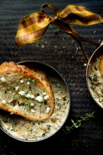 Mushroom Kale Sausage Cream Soup in Copper Pots